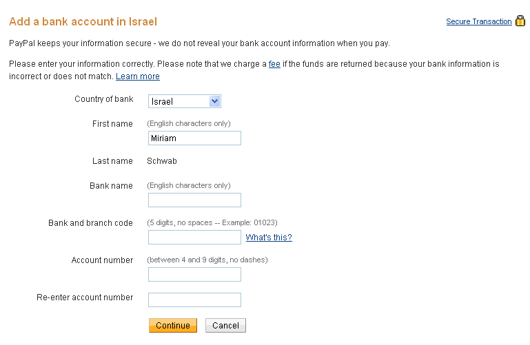 Add Israeli bank account to Paypal
