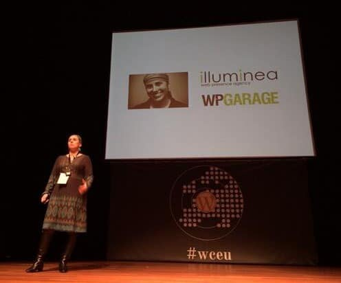 Miriam Schwab speaking at WordCamp Europe 2013