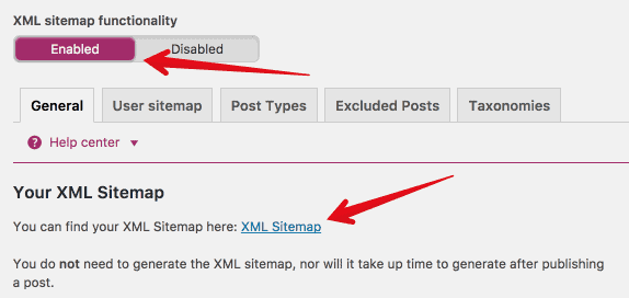 Enable XML Sitemap in Yoast and submit to Google Search Console
