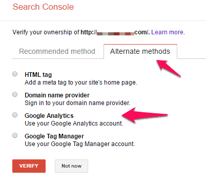 Verify web property in Google Search Console