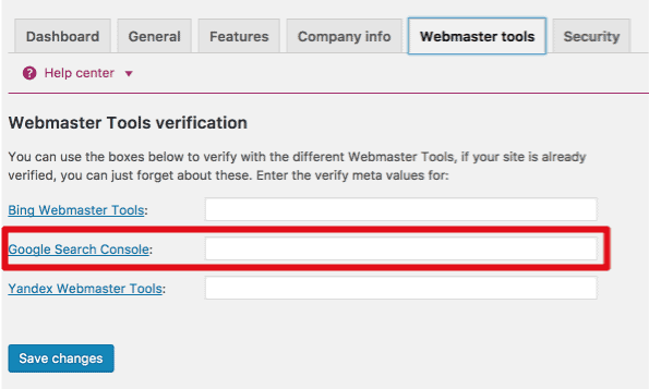 Verifying site in GSC with meta headers in Yoast's SEO WordPress plugin